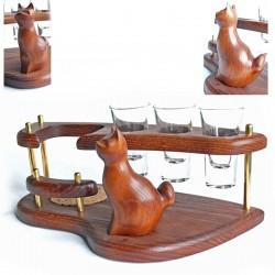 Мини-бар водочный поднос со скульптурой Кот сидящий