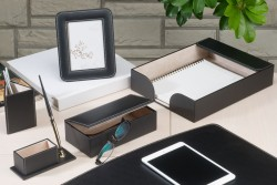 Набор настольный Bestar NAVY из 6 предметов искусственная кожа черного цвета