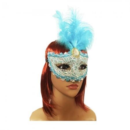 Венецианская маска Патриция  голубая с серебром