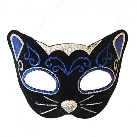 Венецианская маска Кошка фетр (черная с синим)