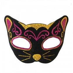 Венецианская маска Кошка фетр (черная с малиновым)