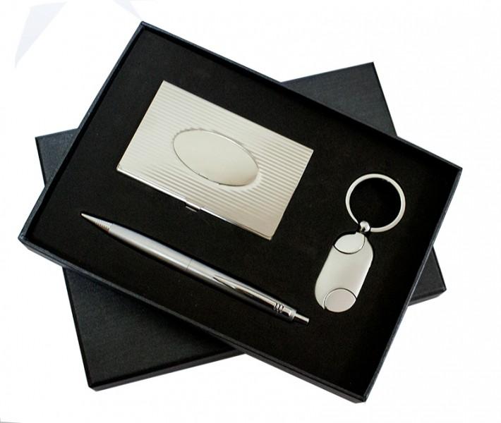 Набор в подарочной коробке ручка, визитница, брелок