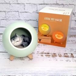 LED Ночник Спящий кот в домике зеленый