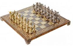 Шахматы Manopoulos Спартанский воин в деревянном футляре коричневые S16CMBRO
