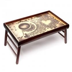 Столик для завтрака в постель Чашка кофе и сердечко