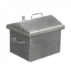 Коптильня горячего копчения  малая с крышкой домиком 380X320X360