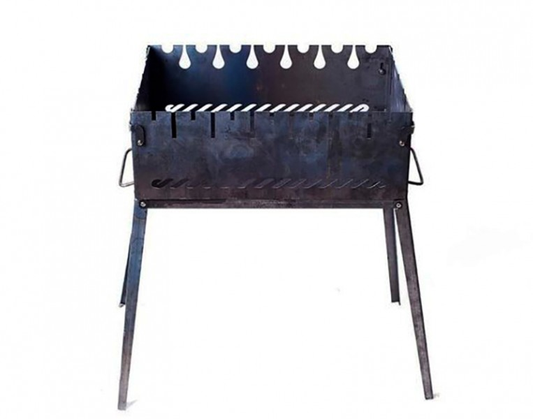 Раскладной мангал чемодан на 6 шампуров из черного металла