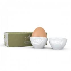 Набор из двух фарфоровых подставок для яиц Tassen  Улыбка и Хмм