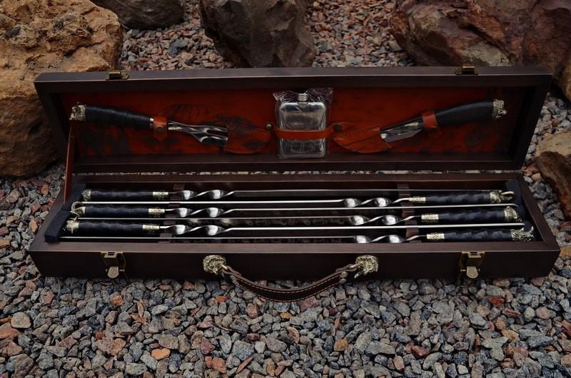 Набор шампуров ручной работы  Сафари в кейсе