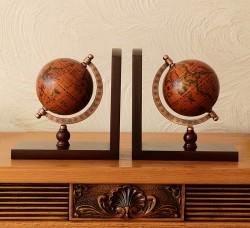 Подставка для книг (букенд) Глобус коричневый