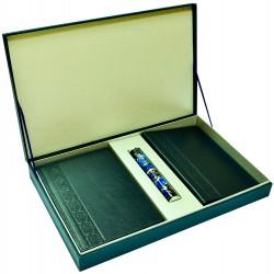 Подарочный набор «Бизнес»: ежедневник, визитница в кожаном переплете, металлическая ручка в футляре, подарочная коробка
