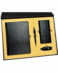 Подарочный набор «Премиум»: ежедневник в кожаном переплете, металлическая ручка, Xiaomi Power Bank, флеш-карта, подарочная коробка