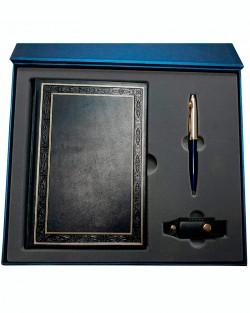Подарочный набор «Деловой»: ежедневник в кожаном переплете, металлическая ручка, флеш-карта, подарочная коробка