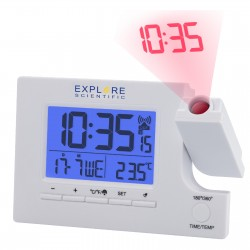 Часы проекционные Explore Scientific Slim Projection RC Dual Alarm White