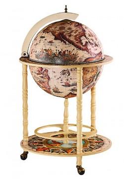 Глобус бар напольный Карта мира слоновая кость сфера 45 см 45001W