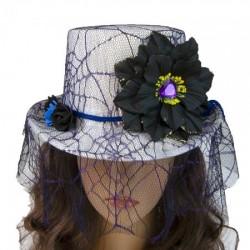 Шляпа Cтимпанк Викторианская Готика белая с фиолетовым