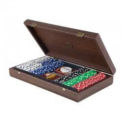 Покерный набор  Manopoulos в деревянном футляре из темного ореха