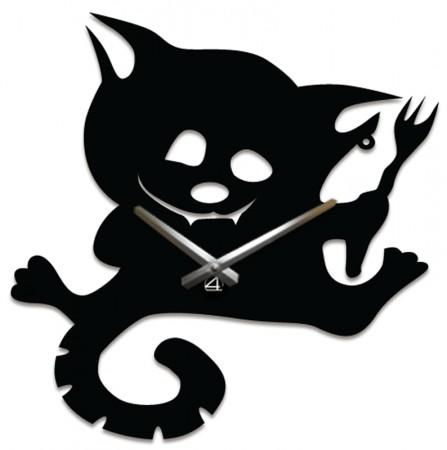 Настенные часы Кот с вилкой A-037