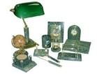 Настольный набор зеленый мрамор