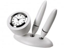 Настольный прибор с часами и двумя ручками