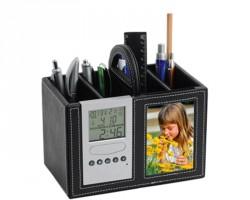 Подставка под ручки с часами,датой,термометром и рамкой для фотографии