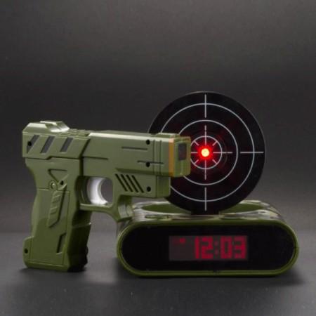 Будильник с пистолетом хаки