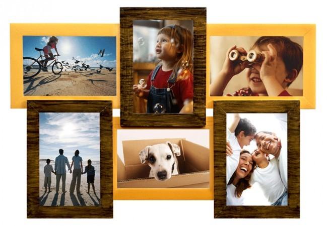 Фоторамка Двойное золото на 6 фотографий