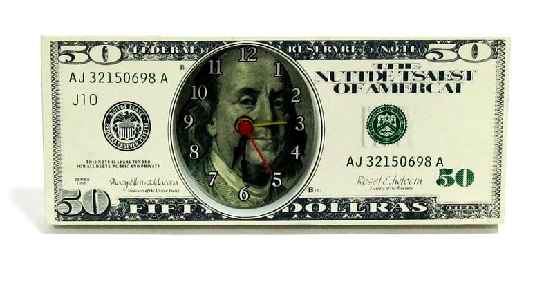 """Настольные часы """"50 $""""  (мал)"""