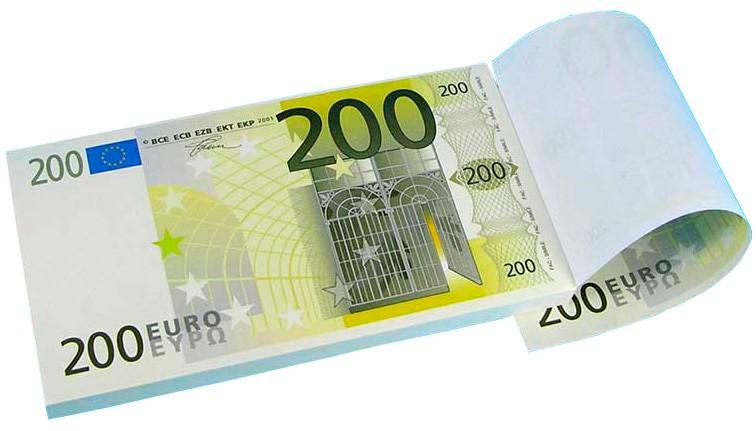 Блокнот 200 евро односторонний