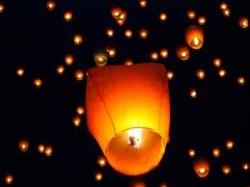 Небесный летающий фонарик купол большой