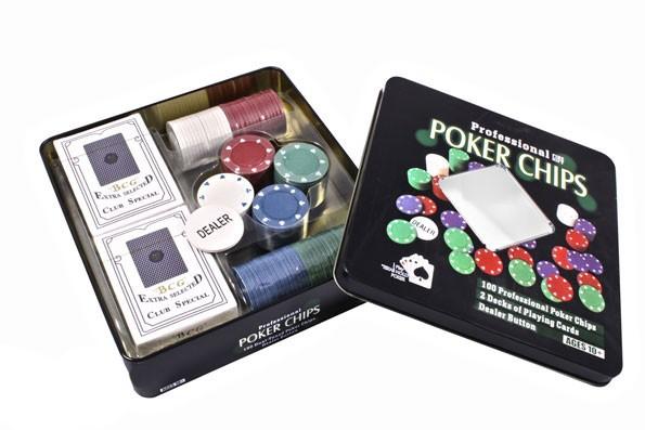 Набор для покера в оловянной коробке