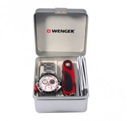 Набор наручные часы Wenger 70797 Battalion Chrono Sport и нож Evogrip 1.18.09.821