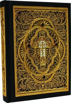 Библия большая с филигранью (золото) и гранатами