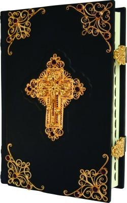Библия с комментариями, филигранью, гранатами, золото