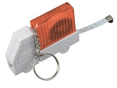 Брелок рулетка автомобиль с фонариком оранжевый