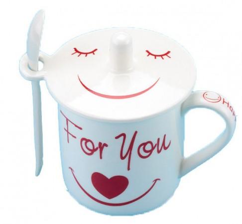 """Чашка """"smile"""" с ложкой и крышкой"""