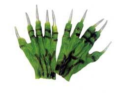 Руки перчатки зеленые с когтями