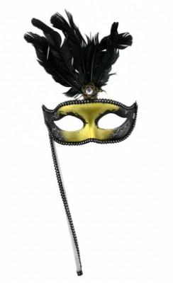 Карнавальная маска Венеция Таинственная Незнакомка золотая