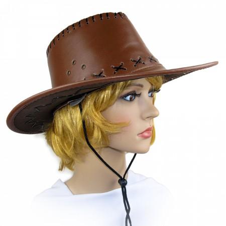 Шляпа ковбойская кожа коричневая