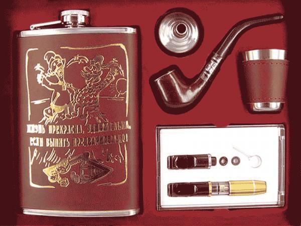 Фляга подарочный набор  кожа с золотом