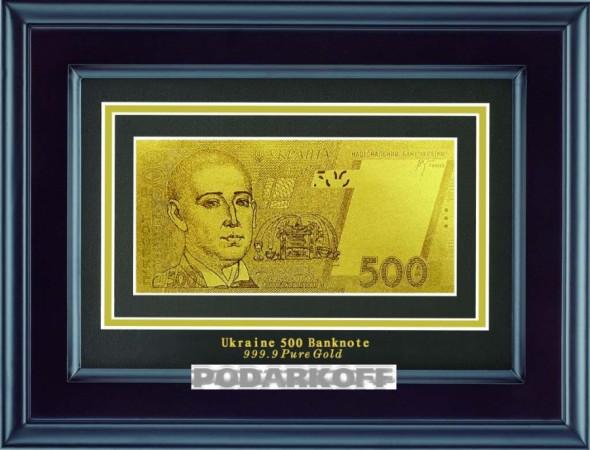Банкнота 500 Гривен в деревянной рамке