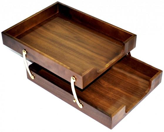 Лоток двойной деревянный 1468XDX