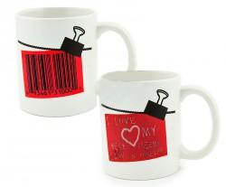Чашка-хамелеон штрихкод любви