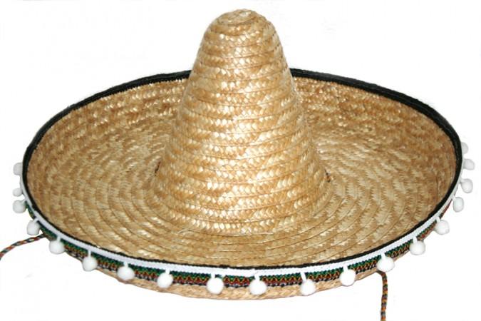 Шляпа сомбреро соломенная 50см