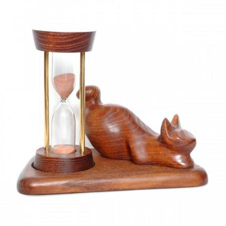 Песочные часы со скульптурой Кот лежащий