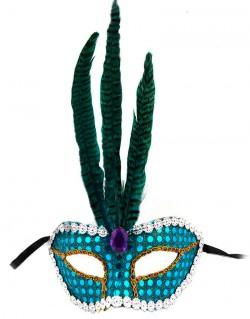 Венецианская маска Фантазия голубая