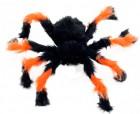 Паук из меха 50см черный с оранжевым