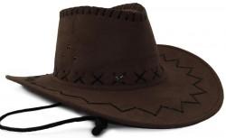 Шляпа Ковбоя замша темно коричневая