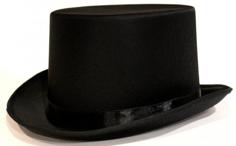 Шляпа цилиндр атласная черная