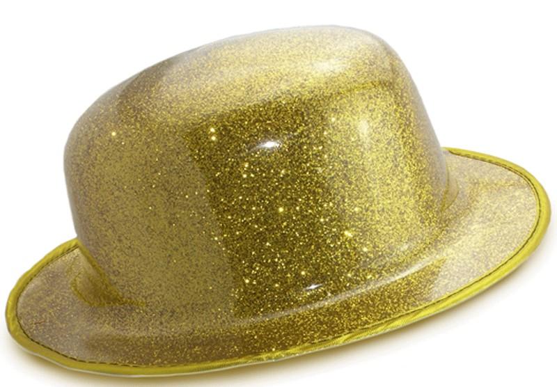 Шляпа Котелок пластик блестящая желтая